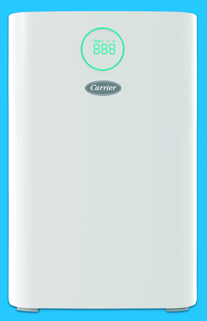 Den Luftreiniger gibt es in drei Leistungsgrößen mit Luftleistungen von 260 bis 510 m³/h für Räume von 18 bis 61 m² (Abb. © Carrier)